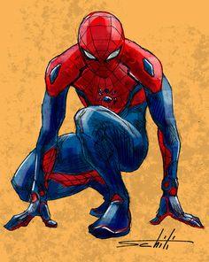 Spider Man redesign by Valerio Schiti