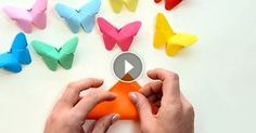 A very simple origami butterfly. Make these with your children before the party and use them on the party food table, as giveaways and around the room as decorations. All you need is square origami paper.Paper butterfly during 3 minutes Paper Crafts Origami, Origami Easy, Diy Paper, Paper Crafting, Origami Butterfly, Origami Owl, Butterfly Mobile, Butterfly Video, Paper Butterflies