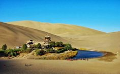 Sensational Lake Crescent In The Gobi Desert - Architecture Admirers