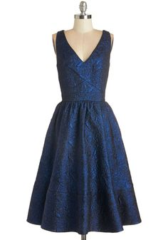 Shimmer in the Candlelight Dress - Blue, Black, Special Occasion, Fit & Flare, Sleeveless, Best, V Neck, Holiday Party, Print, Vintage Inspired, 50s, Long, Pockets