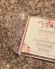 Stunning blush gold floral laser cut wedding invitation. #EWIcustomerreview #Elegantweddinginvites