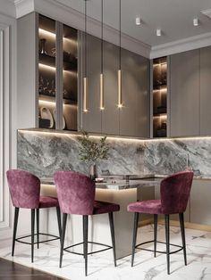Modern Kitchen Interiors, Luxury Kitchen Design, Kitchen Room Design, Home Room Design, Home Decor Kitchen, Interior Design Living Room, Warm Kitchen, Luxury Dining Room, Cuisines Design