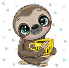 Cartoon Edits, Disney Cartoon Characters, Disney Cartoons, Cute Baby Sloths, Cute Sloth, Cute Animals Images, Cute Cartoon Animals, Baby Animal Drawings, Cute Drawings