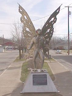 Point Pleasant, WV - Mothman Statue - The first sighting of the supposed Mothman occurred on November 12, 1966. A group of gravediggers working in a cemetery in Clendenin, West Virginia saw the figure fly through the air, right over their heads. Other people began seeing the same creature, which they described as looking like a man with wings.