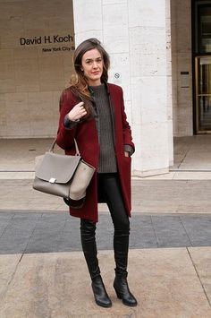 You cannot go wrong with the minimalistic blend of oxblood, black,  and a Céline bag.