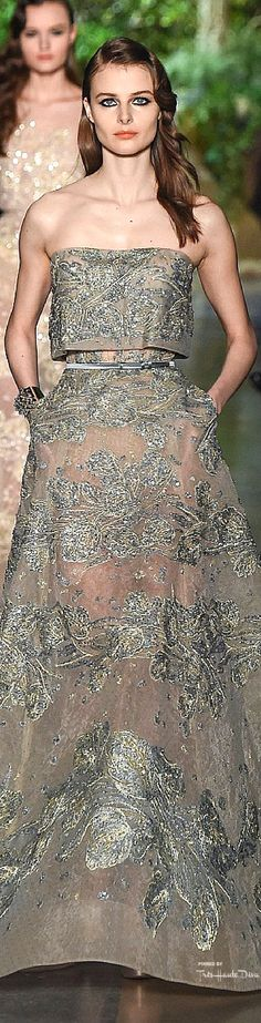 Elie Saab ~ Couture Spring Strapless Grey Gown w Short Bodice + Silver Metallic Floral Details 2015 Couture 2015, Spring Couture, Couture Fashion, Runway Fashion, Party Looks, Beautiful Gowns, Beautiful Outfits, Look Fashion, Fashion Show