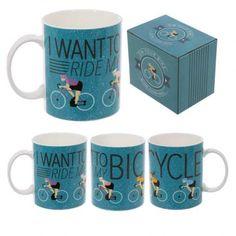 """Hrnek z čínského porcelánu """"I want to Ride my #Bicycle"""", design Jack Evans #giftsforhim #mug"""