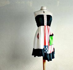 upcycled clothes | Upcycled Clothing American Flag Strapless Sundress Union Jack Summer ...