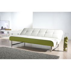 White and Green Futon Sofa Bed for the Airstream