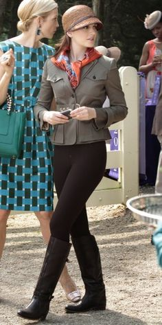 Blair Waldorf's peplum riding jacket, orange scarf, and riding boots. I need those boots in my life.