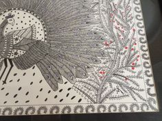 Detailed painting of a peacock.