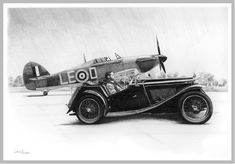 """Douglas Bader with his MG car and his Hurricane """"LE-D"""""""