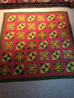 Vintage Antique Early Quilt Red Green Cheddar Pieced Stars in Antiques, Linens & Textiles (Pre-1930), Quilts, Completed Quilts | eBay