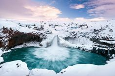 Aldeyjarfoss (Islandia) Cataratas heladas.