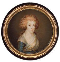 Portrait d'une femme en robe bleue avec un fichu blanc, vers 1791 Jean-Baptiste Lemort