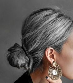 Gray Hair Growing Out, Grow Hair, Bun Hairstyles For Long Hair, Hairdos, Grey Hair Young, Loose Buns, Haircut And Color, Grow Out, Ponytail