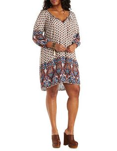 Plus Size Border Print Shift Dress: Charlotte Russe