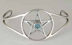 The Essential Sterling Silver Pentacle Bracelet with Genuine Blue Topaz Handmade in America ** Continue reading at the image link.