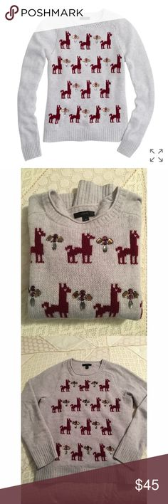 J.Crew Llama Embellished Sweater Spotted with hand-applied jeweled clusters, this lambswool sweater is certainly a conversation starter.  Lambswool in a 3-gauge knit. Long sleeves. Rib trim at neck, cuffs and hem. Dry clean. Pre-owned, in excellent condition. J. Crew Sweaters