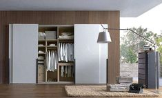 Elegant White Built-In Wardrobe Design with Sliding Door and More Storages for Small Space Bedroom Design // White Sliding Door Wardrobe, Modern Sliding Doors, Sliding Closet Doors, Built In Wardrobe, Sliding Glass Door, Wardrobe Ideas, Closet Ideas, White Closet, White Wardrobe