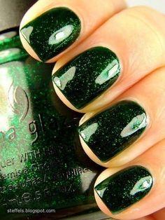china glaze green #glitter #nails