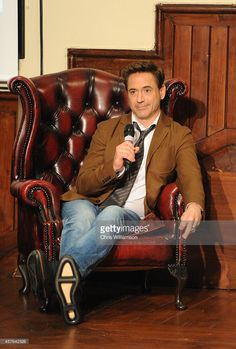 Actor Robert Downey Jr visits the Cambridge Union, the debating society for the University of Cambridge on October 17, 2014 in Cambridge, England.