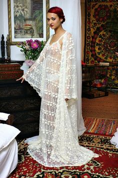 Heirloom Lace Bridal Robe Embroidered French by SarafinaDreams, $225.00