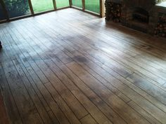 concrete resurfaced to look like wood is a fantastic idea!