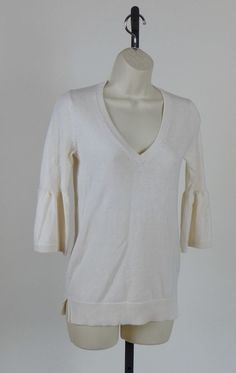 GAP $16.99 Soft Cashmere Blend VNeck Bell Sleeve Wear to Work Tunic Sweater Top Small  #GAP #CashmereVneck