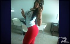 Mexican Girl in Red Yoga Pants