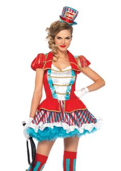 Everyone loves the circus! This costume is bright and delightful for anyone to wear. The costume includes the coat dress and top hat. Go to the Stagecoach for all of your accessories including a whip,