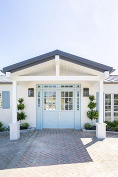 California Ranch Home for Sale Cabinet Paint Colors, Door Paint Colors, California Ranch, California Homes, Ranch Homes For Sale, Accent Wall Colors, Blue Shutters, Colored Ceiling, Painted Doors