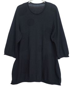 ISSEY MIYAKE HAAT HEART Womens Sweater Tunic Knit Black Size 2 US M #IsseyMiyakeHaat #Tunic