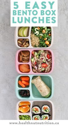 5 easy and healthy Bento Box lunches perfect for meal prepping your meals Monday through Friday! Click through for the recipes, or pin to save for later! 5 Easy Bento Box lunches perfect for meal prepping healthy meals Monday through Friday! Healty Lunches, Healthy School Lunches, Box Lunches, Lunch Snacks, Lunch Recipes, Healthy Snacks, Healthy Recipes, School Snacks, Free Recipes