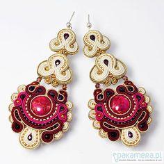 Pakamera Art - earrings - soutache - Sutaszowe earrings IMPERIAL3 Jewelry Art, Beaded Jewelry, Jewelry Accessories, Fashion Accessories, Handmade Jewelry, Jewelry Design, Soutache Necklace, Macrame Earrings, Ring Earrings
