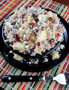quinoa salad with apples, cranberries and feta