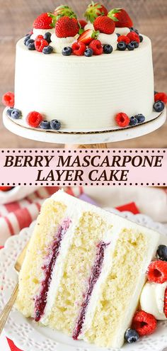This Berry Mascarpone Layer Cake has layers of fluffy vanilla cake, fresh berry filling and mascarpone whipped cream frosting! It's light, fruity and perfect for spring! Best Cake Recipes, Cupcake Recipes, Cupcake Cakes, Best Fruitcake, Cake Design Inspiration, Whipped Cream Frosting, Pretty Cakes, Let Them Eat Cake, Yummy Cakes