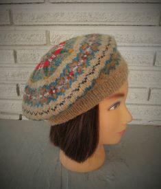 61bbd50d89efb Hand Knit Beret Fair Isle Pure Wool Ready to ship Fairisle Womens Tam