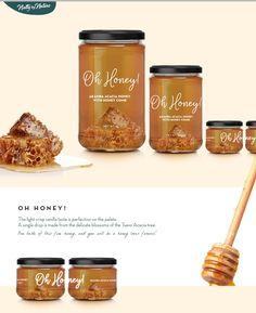 Oh Honey! Oh Honey! on Packaging of the World - Creative Package Design Gallery Jar Packaging, Honey Packaging, Food Packaging Design, Packaging Design Inspiration, Honey Label, Honey Jar Labels, Honey Jars, Honey Bottles, Honey Logo