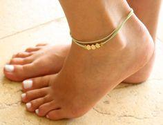 Leichte grüne Fußkette  Litze Knöchel Armband  Gold von Galis2014
