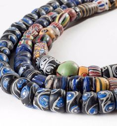 African Trade Beads   Three strands of Venetian glass beads, used during the 18th and early 19th century
