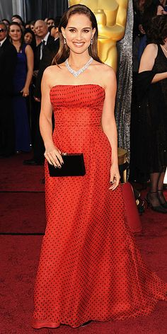 Natalie Portman in a vintage Dior Haute Couture polka-dot gown, Academy Awards 2012