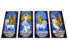 Catholic tile art - set of 8 tiles - Four Evangelists symbols - Perfect for a Church or a prayer room https://www.etsy.com/listing/469048443