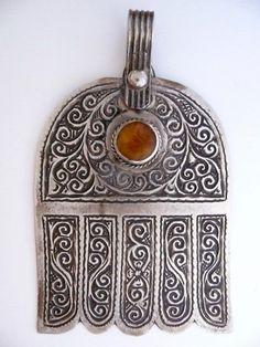 Hand of Fatima - Khamsa - Berber, Morocco. ESSAOUIRA  Silver and amber.  Second half of the 20th century
