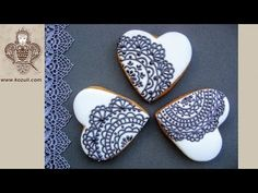 (95) Lace cookies. How to make Lace Heart Cookies. Cookie decorating with royal icing. Video tutorial - YouTube