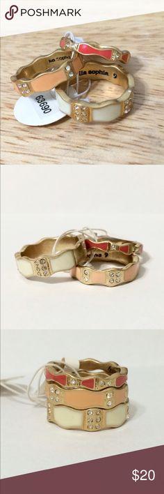 "Lia Sophia ""peaches & cream"" stackable rings BNWT- Size 9- never been worn. Lia Sophia Jewelry Rings"