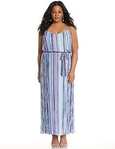 Breezy chiffon maxi dress makes the most of your season in lush stripes and romantic pleats. Flattering V-neck dress with a self-tie belt defines curves to your advantage. Adjustable straps. Fully lined.  lanebryant.com