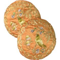 Embroidered Silk Blend Round Pillows with Birds offered by Antique Beak