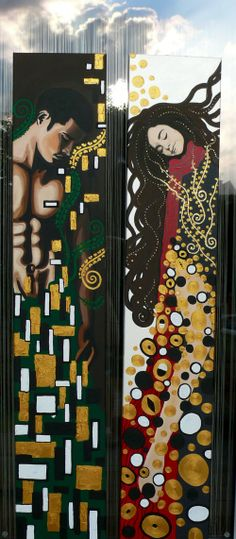 Klimt inspired dreaming boy and girl (acryl, pastel, gold pasteon canavas) by Edl Art Dream Boy, Klimt, Advent Calendar, Boy Or Girl, Pastel, Inspired, Portrait, Holiday Decor, Gold