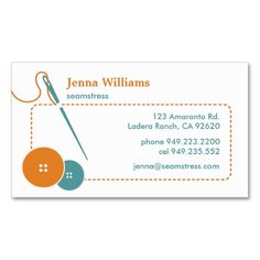 230 best artisan business cards images on pinterest artisan from lucy artisan seamstress orange blue business card reheart Image collections